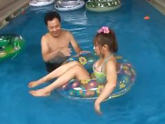 Kinky Guy Having Crazy Fun in the Pool With Lovely Doll Ageha Kinoshita