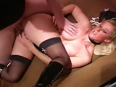 British slut gets fucked on the sofa in stockings and boots