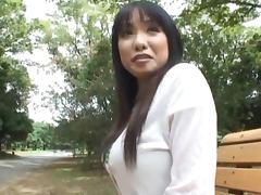 Busty Japanese Babe Miho Tsujii Sucking Cock Outdoors at the Park