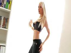 Blonde teenie teasing and stripping
