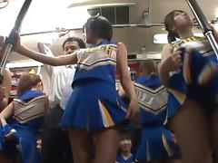 Japanese Cheerleaders Having Sex with Many Guys in Subway porn video