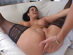 Big tits hottie in nylons loves anal action