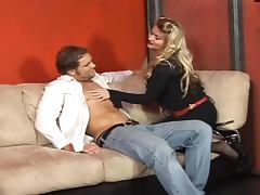 Nikki Darlin destroys the guy's ass with a realistic dildo