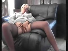 Mature French granny pees and stuffs her old pussy