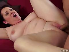 Melany moans loudly while getting her meaty pussy pounded