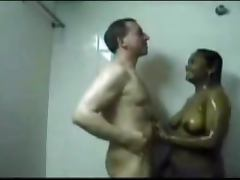 Indian woman with White man have hot sex in the bathroom