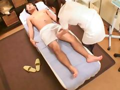 Horny Japanese Masseuse Jerks Off a Dick and Gets Nailed