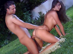 Overnight sex with slender brunette Angelica Saige on the grass