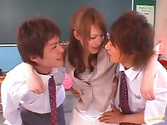 Hot Japanese Teacher Fucked By 2 Of Her Students