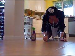 Maid to scrub the kitchen floor