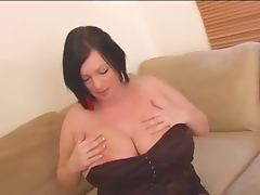 Simone licks her own nipples