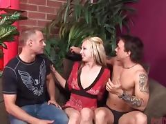 Crazy Pegging Action in MMF Threesome with Strapon Clad Blonde Zoe Matthews
