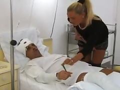 Adorable blonde girl fucks a guy in the hospital