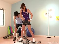 Pretty In Purple Chick Finally Gets To Sample The Gym Instructor