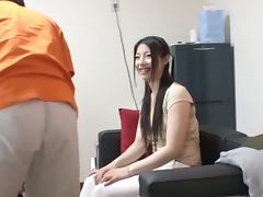 Slim and sexy Japanese girl gives a blowjob and gets banged