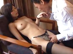 Skinny Japanese chick blows and gets stunningly fucked doggy style