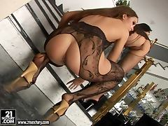 two arousing hot bitches in hot lingerie toying with dildo