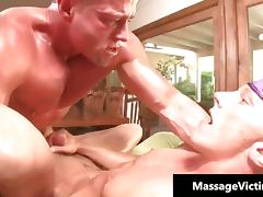 Blonde attractive gay gets a massage
