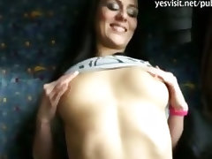 Lovely amateur paid and fucked in a public train