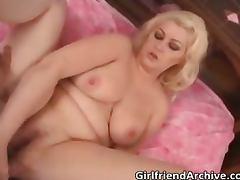 Fatty blonde MILF sucks big hard