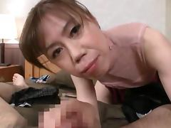 Mature Japanese slut gets a hard cock to play with