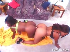 Ass to ass lesbo scene with busty BBW ebony slut