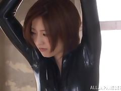 Hot Japanese Ai Haneda Toyed in Her Tight Outfit in BDSM Clip