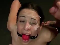 Brutal gangbang in a BDSM style for a petite brunette