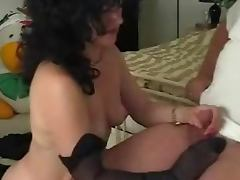 Mature lady licks off the cum from her nylon