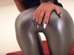 Asian in silver leggings