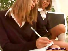 Homework trouble with two naughty teen babes