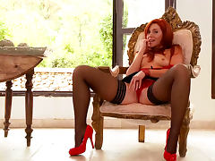 Redhead model Kety Pearl pokes her innocent puss