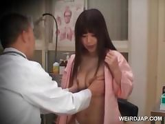 Redhead asian beauty gets boobs checked at doctor