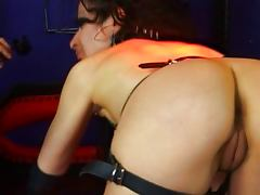 Black haired fetish slave babe gets hit