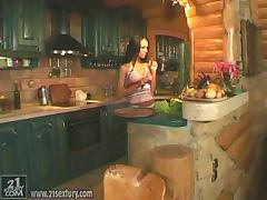 Pocahontas drills her pussy with a cucumber in the kitchen