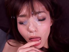 Aino Kishi sucks and rides a cock and gets cum on her face