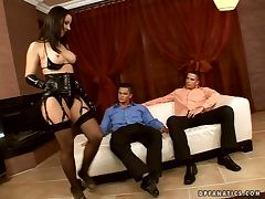 Mistress Maria loves when two men please her hard