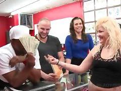 Slutty amateur babe showing tits for cash in public