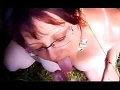 Collared wife takes daytime outdoor facial