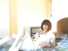 suzan moor strips then taked 9inch Dildo