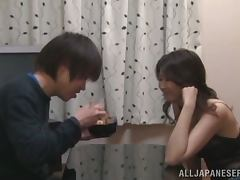 Japanese wife blows and gets her throobing vag fucked hard