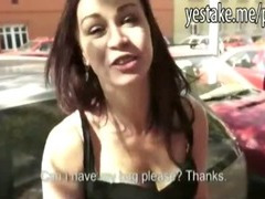 Amateur girl blows and anal rides on a hard dick in public
