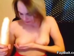 submissive camslut gagging on dildo
