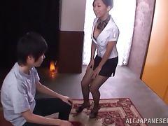 Stunning Miki Horiuhi sucks a cock and licks balls