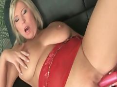 Hot blonde big titted milf dildoing