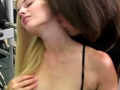 Young blond les amateur gets frisky