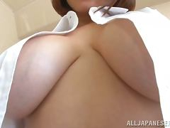 Ruri Saijo boasts of her big boobs and toys her shaved pussy