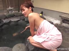 Akari Shimizu sucks a cock and gets a mouthful in Jacuzzi