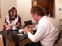 Ai Sayama the girl in sexy housemaid uniform gives a titjob
