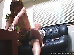 Naughty Japanese girl rides a dick at the interview